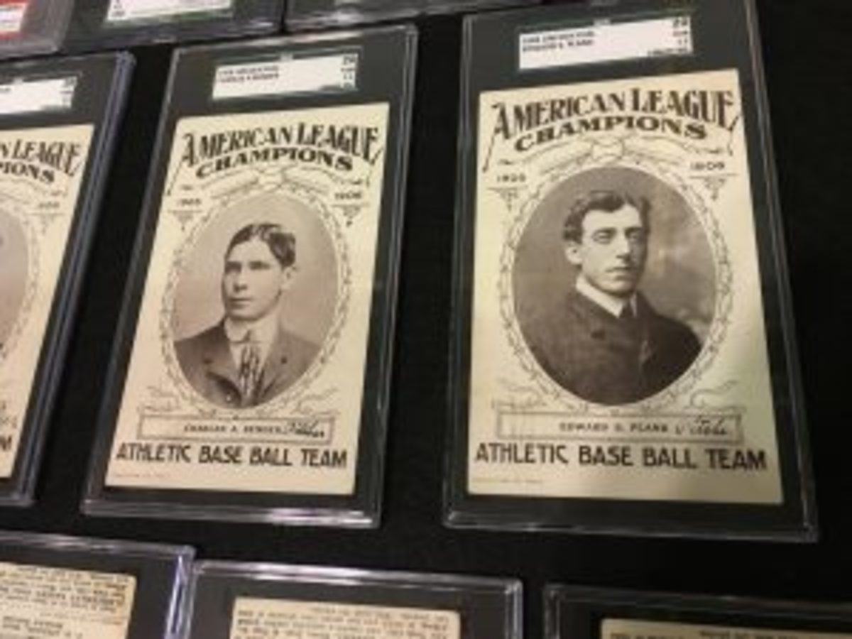 Robert Edward Auctions displayed a few examples of the 1906 Lincoln Publishing postcard set that featured members of the Philadelphia A's, including Bender and Plank.