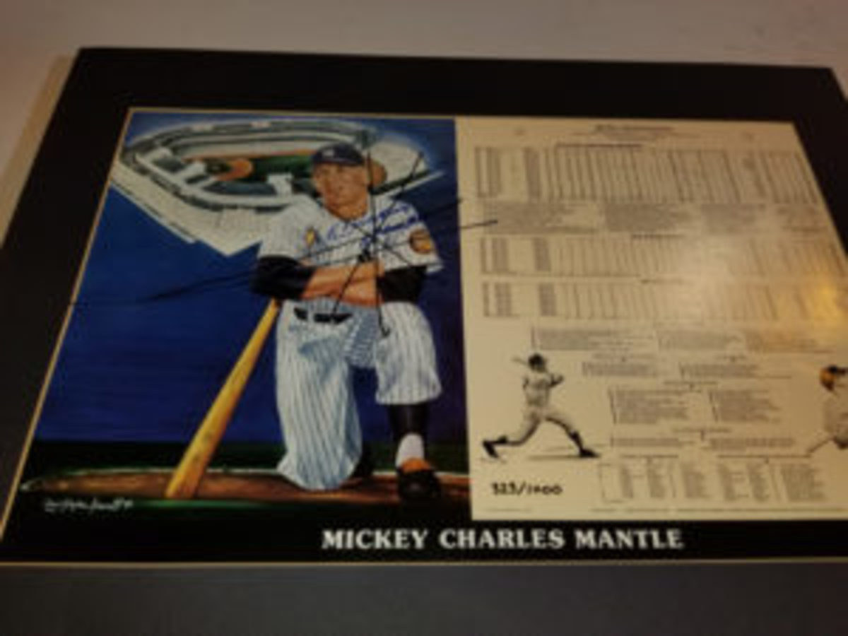 A dealer set up at the National Sports Collectors Convention was busted for trying to sell fake autographs, like this one of Mickey Mantle. Roughly 1,000 items were confiscated by authorities.