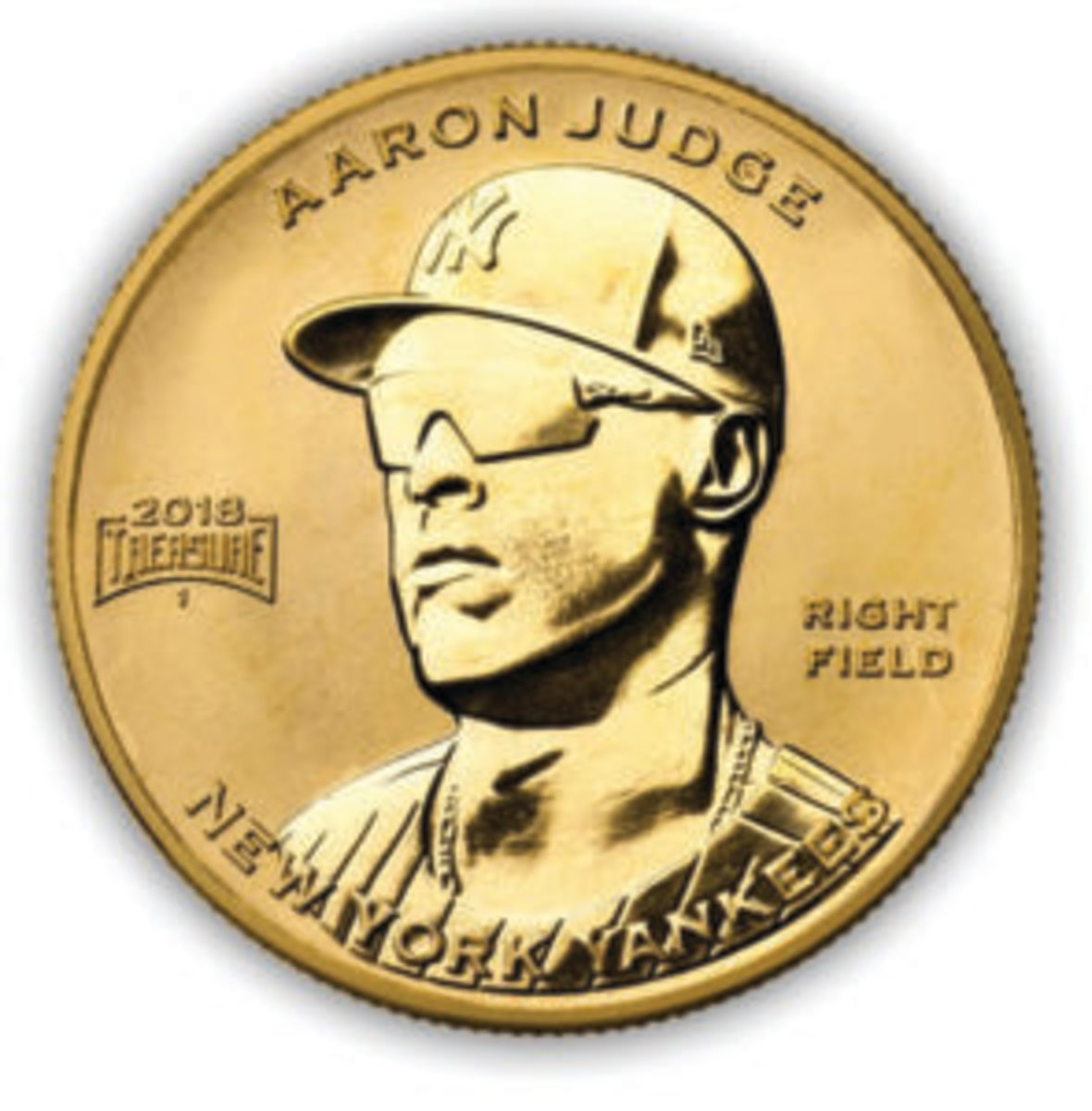 A rendering of the Baseball Treasure gold coin.