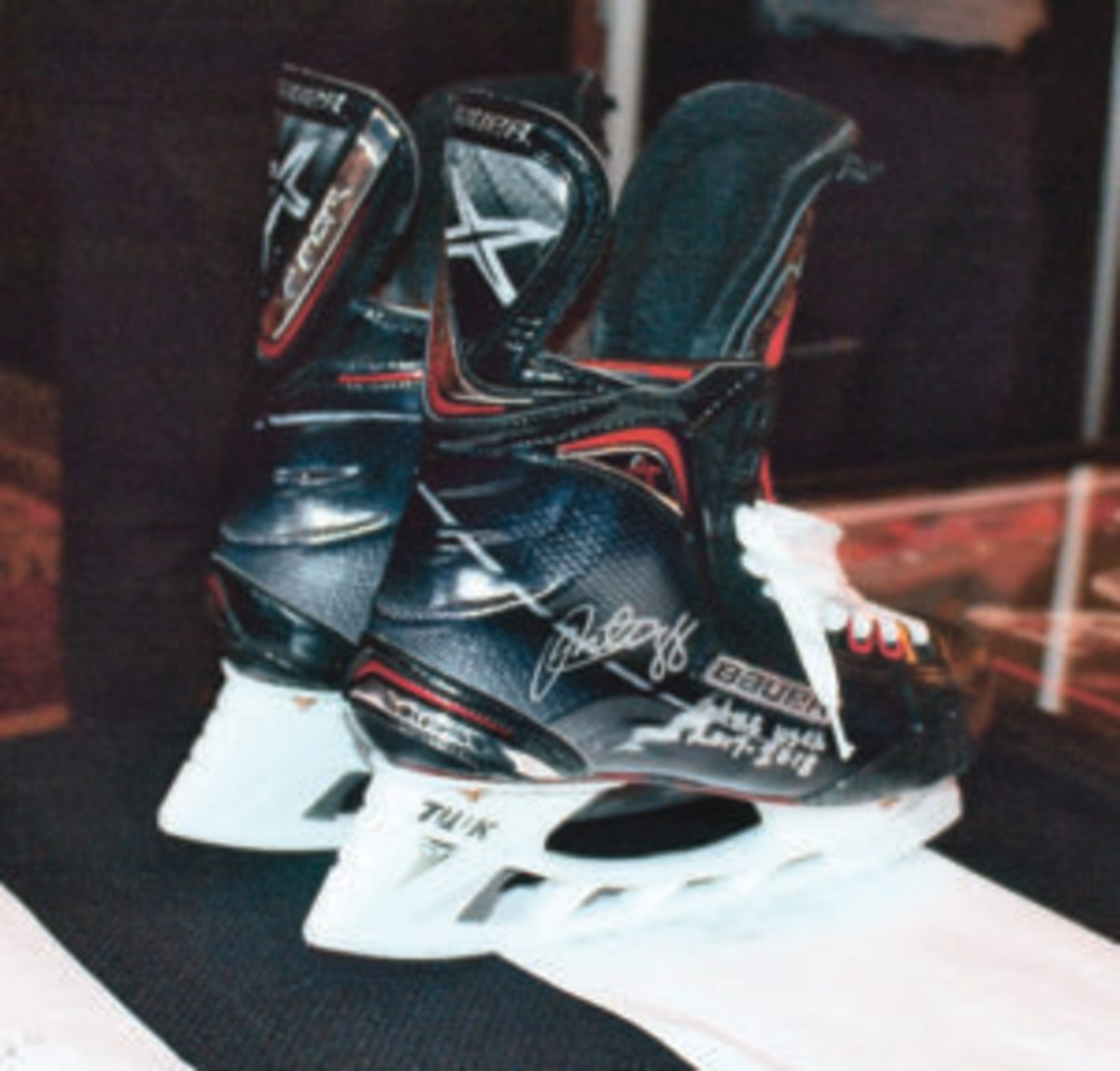Patrick Kane's autographed game-used skates sold for $725 in a silent auction.