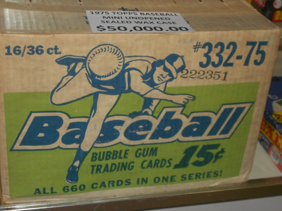 Nineteen-sixties and '70s wax is selling for sky-high prices, especially wax boxes and cases. This case – which was on sale at the 2015 National – is for 1975 Topps Mini Baseball, which was sold only in Michigan and California.