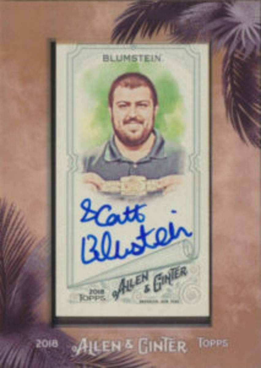 The front of one of the cards included in the 2018 Topps Allen & Ginter Baseball set that is autographed by Scott Blumstein.