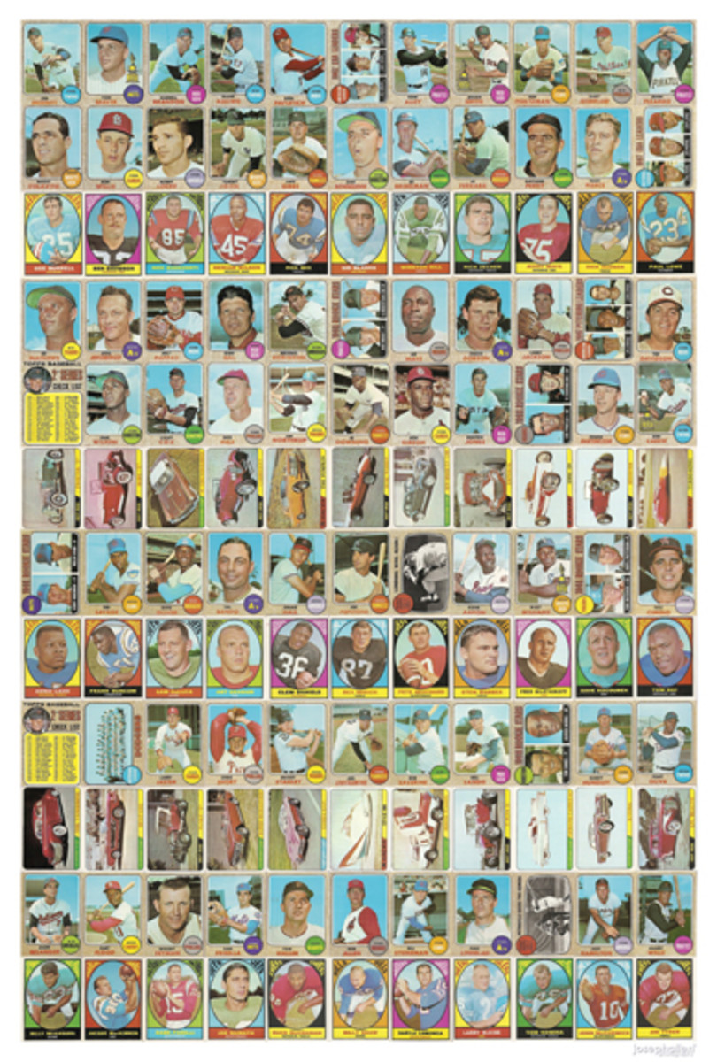 """This is what an uncut sheet of the 1968 Milton Bradley cards would look like. Created by Joseph Allen Wier. For a """"key"""" to this collage, see the uncut sheet roadmap on page 52."""