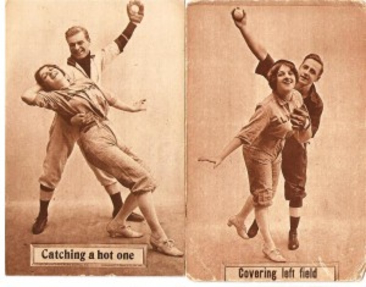 PC798-9 Colonial Art, Brooklyn, was among the corny postcard issues with a baseball theme in 1910.
