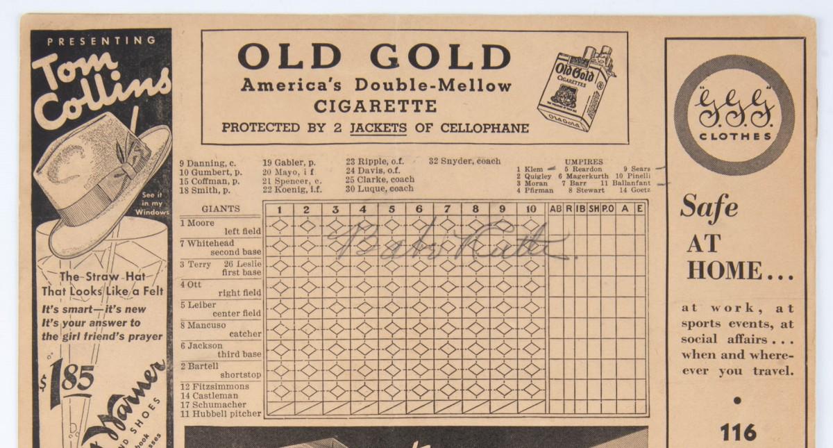 Babe Ruth Sigend Scorecard