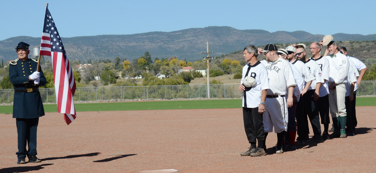 The National Anthem was performed by a local participant at the symposium, after which a baseball game was played under old-time baseball rules. Most of the players on the Ft. Bayard team wore period uniforms.