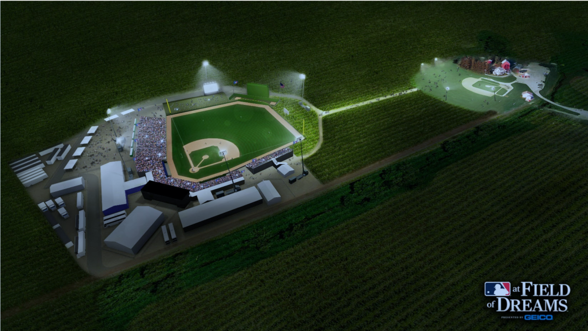 Artist rendition of the stadium built for the Field of Dreams Game. Photo: MLB