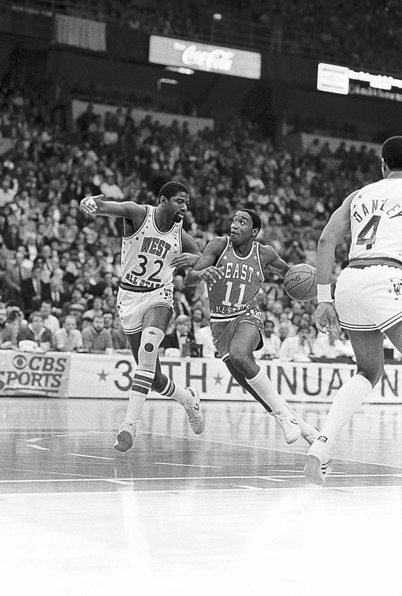 Isiah Thomas driving against Magic Johnson in the 1984 NBA All-Star Game in which he won MVP. Photo: Bettman/Getty Images