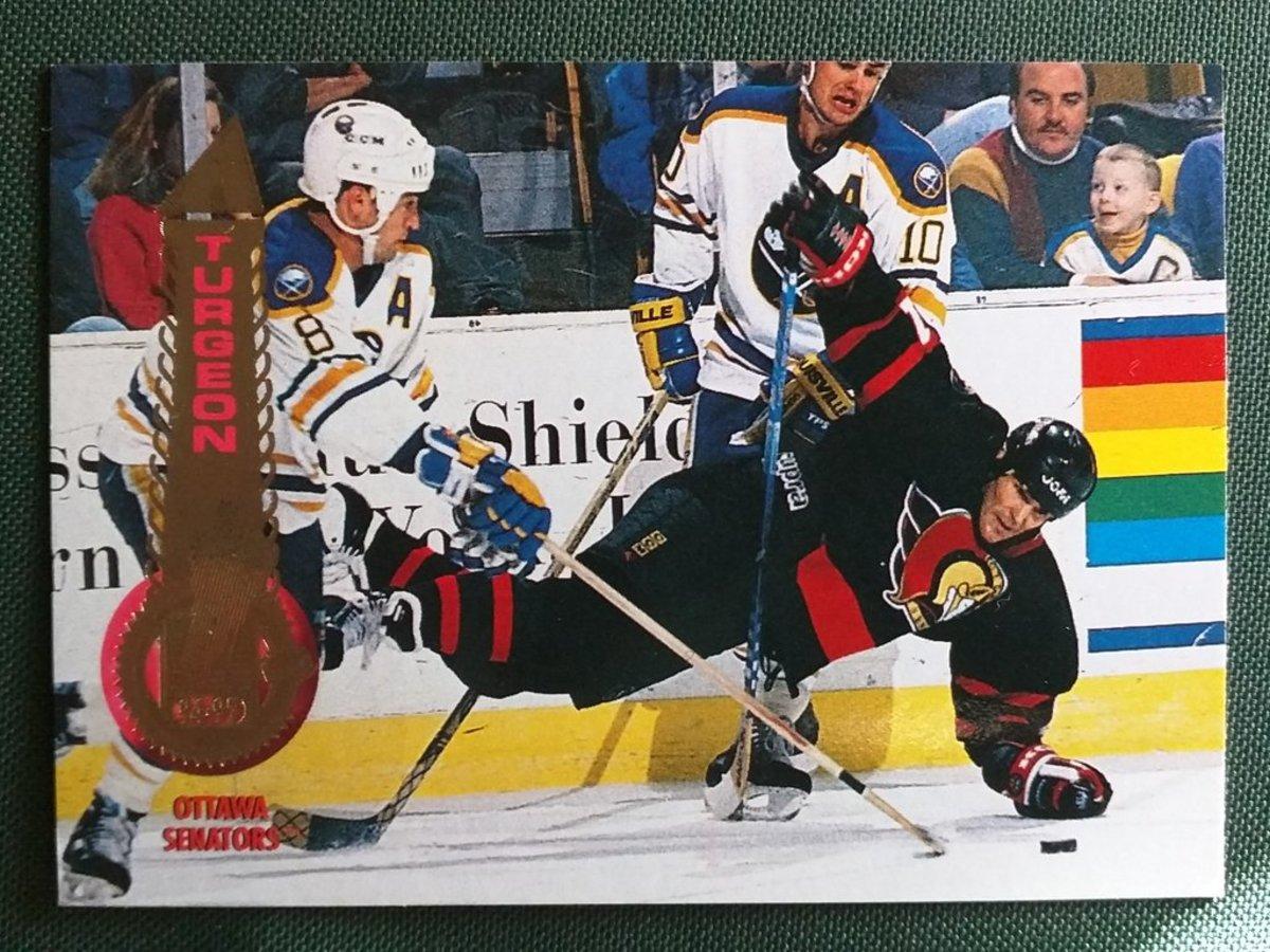 A Sylvain Turgeon 1994-95 card shows a 6-year-old Patrick Kane as a fan.