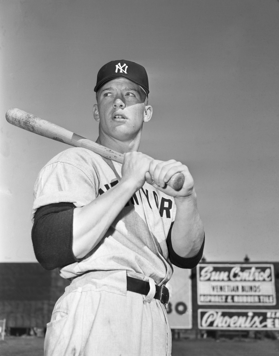 Unedited photo in Getty Images' archives of Mickey Mantle posing for his Topps rookie card. Photo: Bettmann/Getty Images