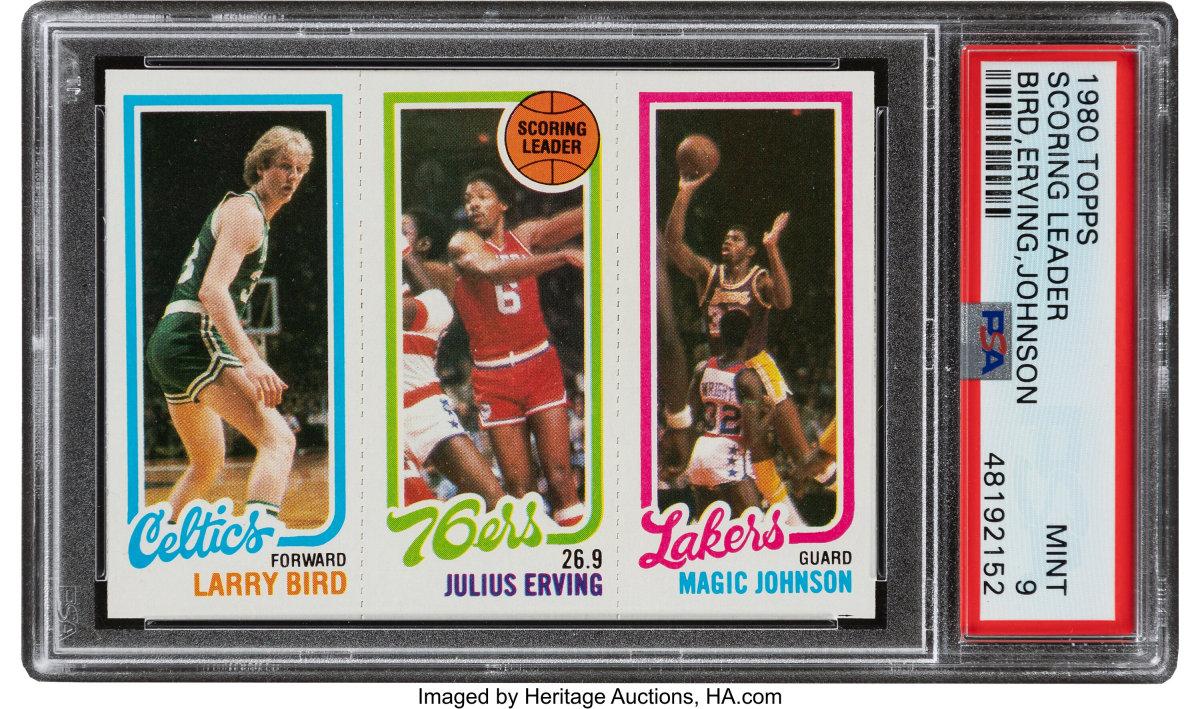 1980 Topps Larry Bird_Julius Erving_Magic Johnson PSA Mint 9_Heritage_Auctions