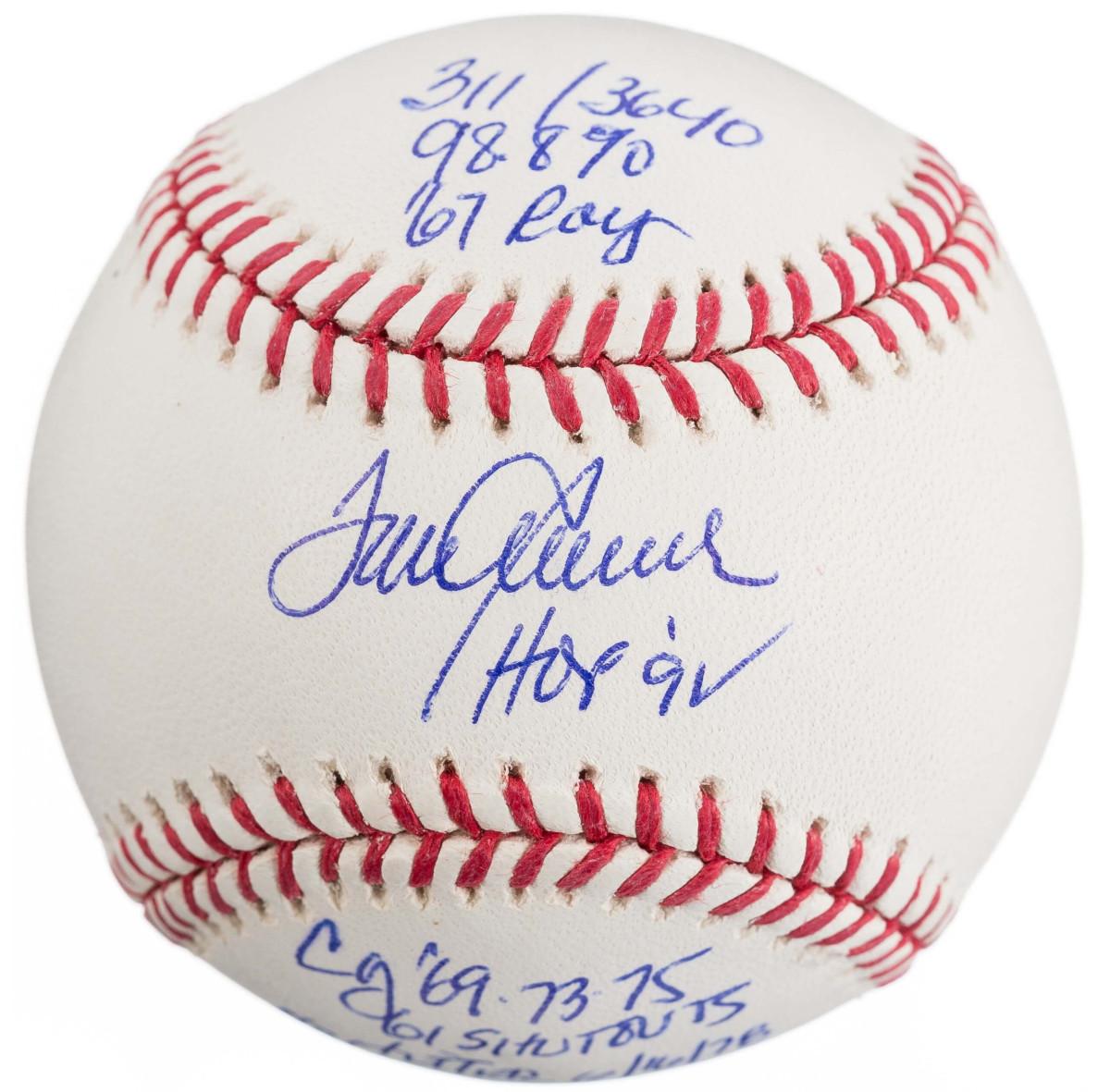 Seaver-signed stat ball