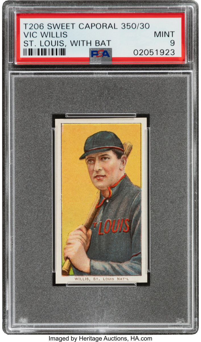1909-11_T206_Sweet_Caporal_350_30_Vic_Willis_With_Bat_PSA_Mint_9_Pop_One_None_Higher_Heritage_Auctions