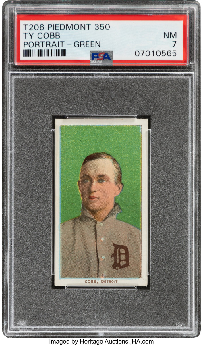 1909-11_T206_Piedmont_350_Ty_Cobb_Portrait-Green_PSA_NM_7_Pop_One_One_Higher_Brand_Series_Heritage_Auctions