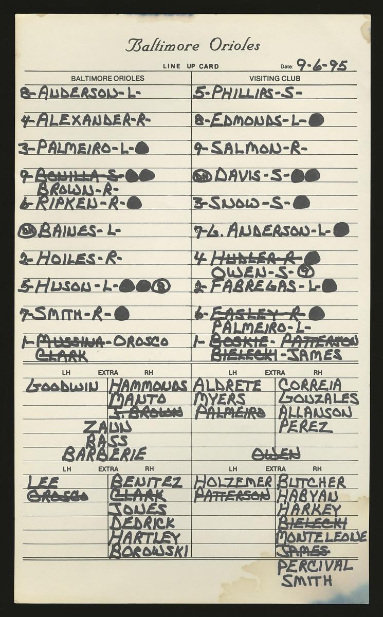 Baltimore Orioles dugout lineup card from Cal Ripken Jr.'s record-setting 2,131 consecutive game. Photo: Robert Edward Auctions