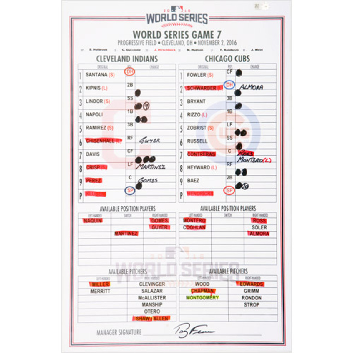 Cleveland dugout card for 2016 World Series Game 7.
