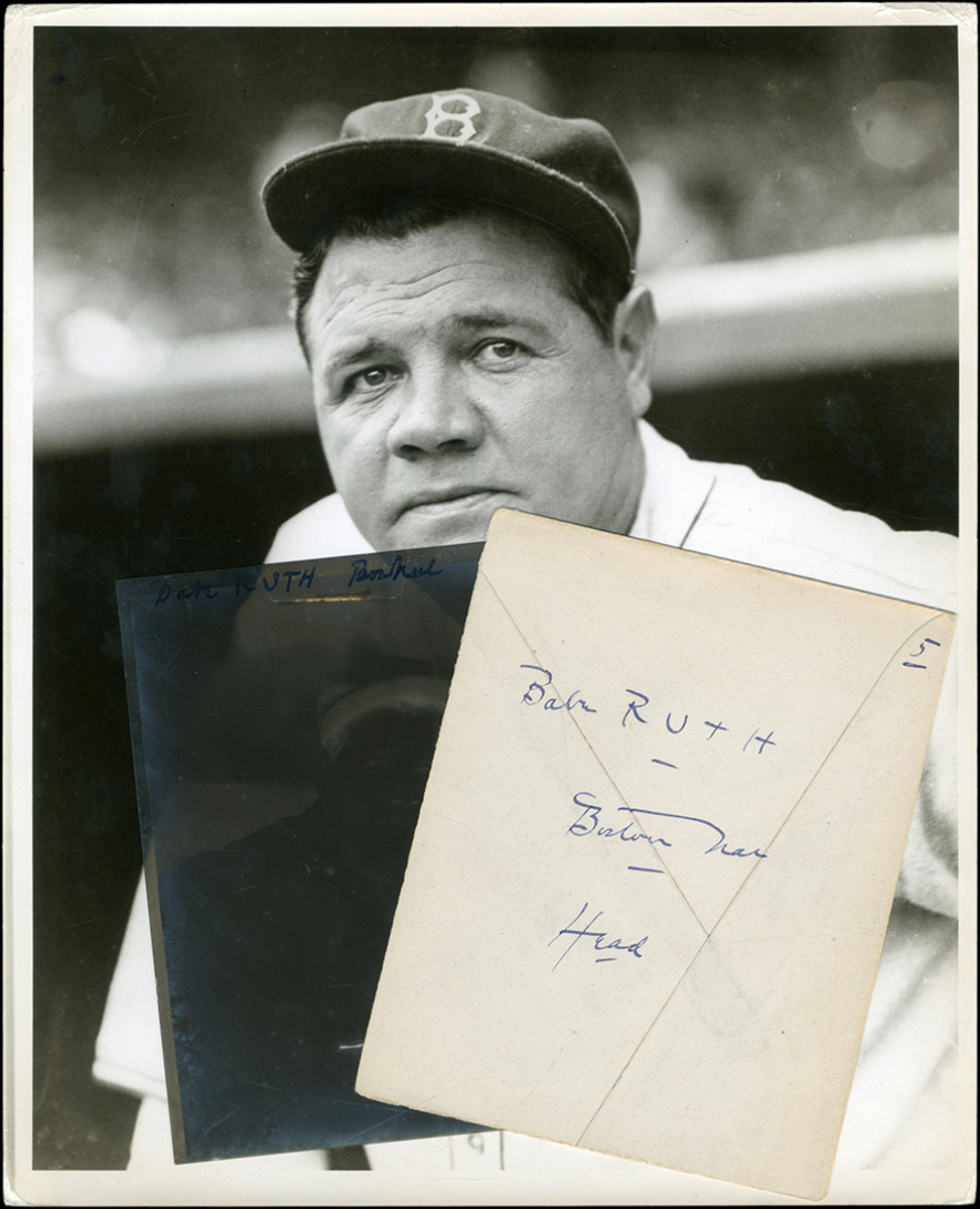 """Babe Ruth Boston Braves Original Negative by Charles Conlon:Extremely scarce 1935 Charles Conlon negative features an ageing Babe Ruth posed in the dugout wearing his crisp and clean Boston Braves uniform and hat. Negative still lives in its envelope that features Conlon's handwriting and other notations. Comes with 8x10"""" print (made in the 1960s)."""
