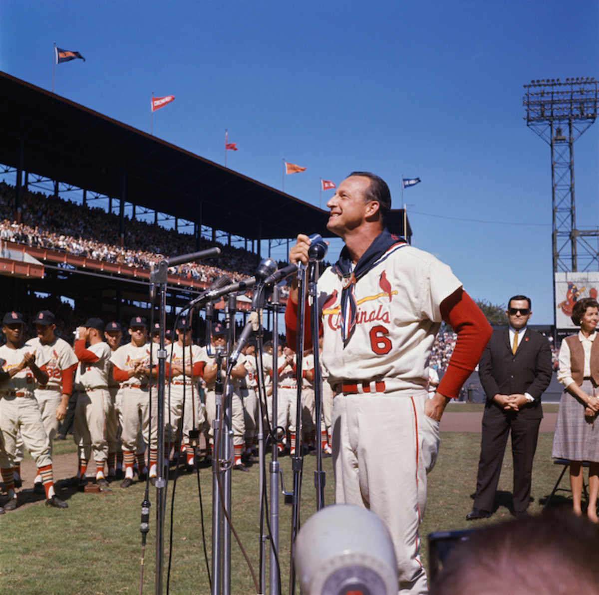 Stan Musial Day Ceremonies at Busch Stadium before his last game of his career in September 1963. Photo: Bettmann/Getty Images