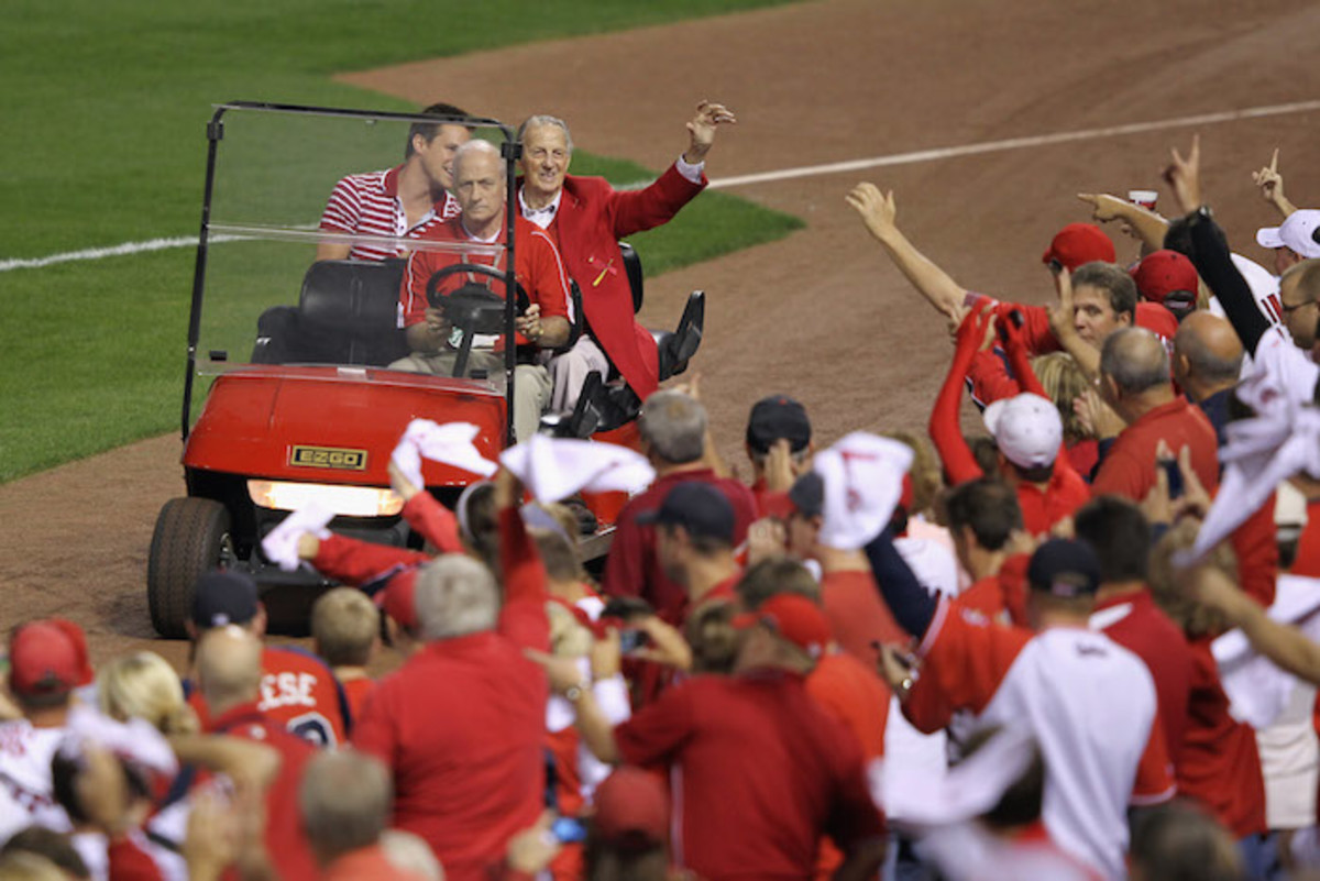 Always a fan favorite, Musial honored before a 2011 Cardinals playoff game. Photo by Jamie Squire/Getty Images