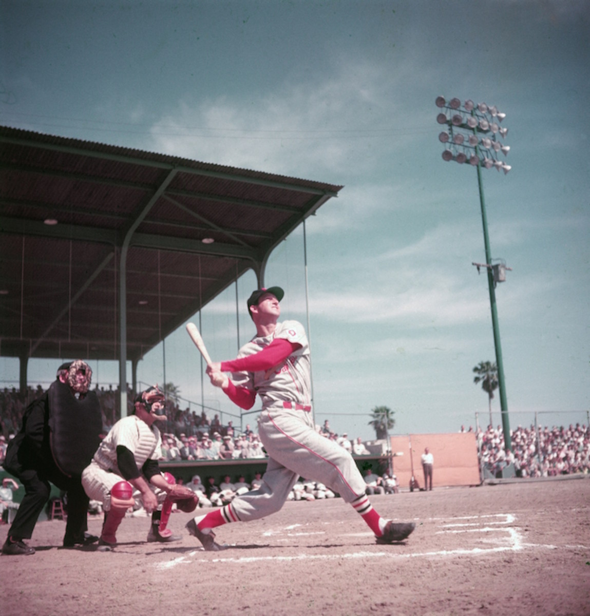 Stan Musial, the all-time greatest St. Louis Cardinal player, hitting in a game circa 1955. Photo: Hulton Archive/Getty Images
