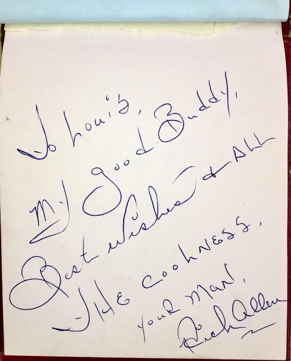 Santoro still has the first autograph from Allen's 1968 visit