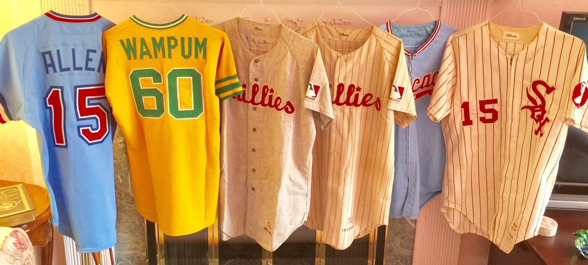 Jerseys from Allen's MLB stops, from left: 1982 Texas Rangers coach's Jersey, 1977 Oakland A's alternate with WAMPUM on back, 1969 Phillies road, 1969 Phillies home, 1974 Chicago White Sox road, 1974 Chicago White Sox home.