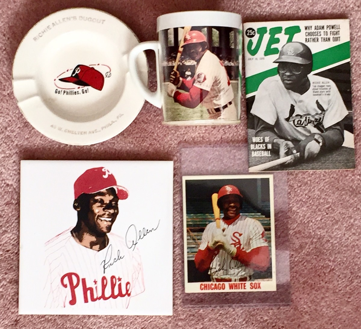 Allen-themed mugs, magazine cover and baseball cards