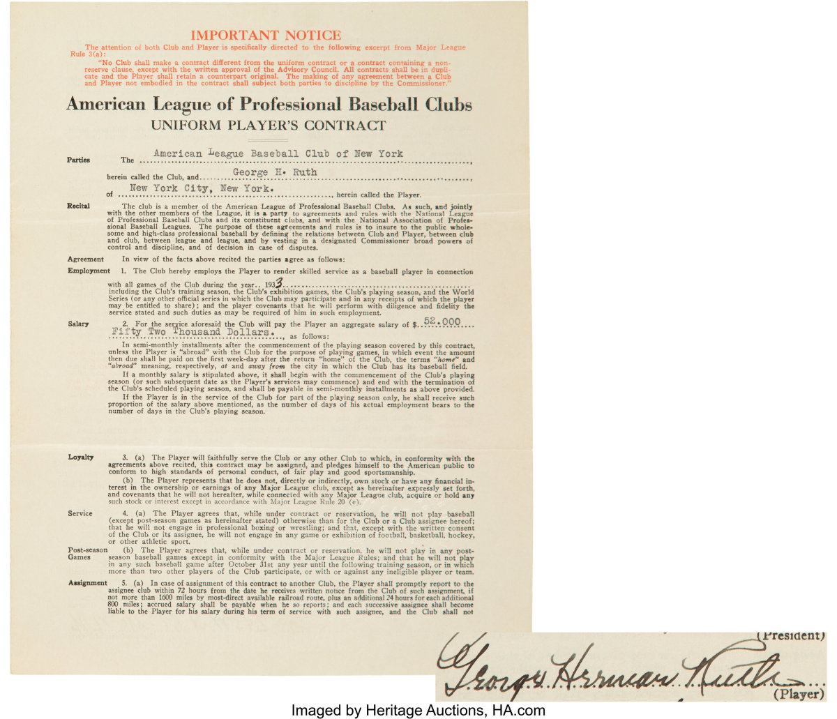 1933_Babe_Ruth-Signed_New_York_Yankees_Player's_Contract_Heritage_Auctions