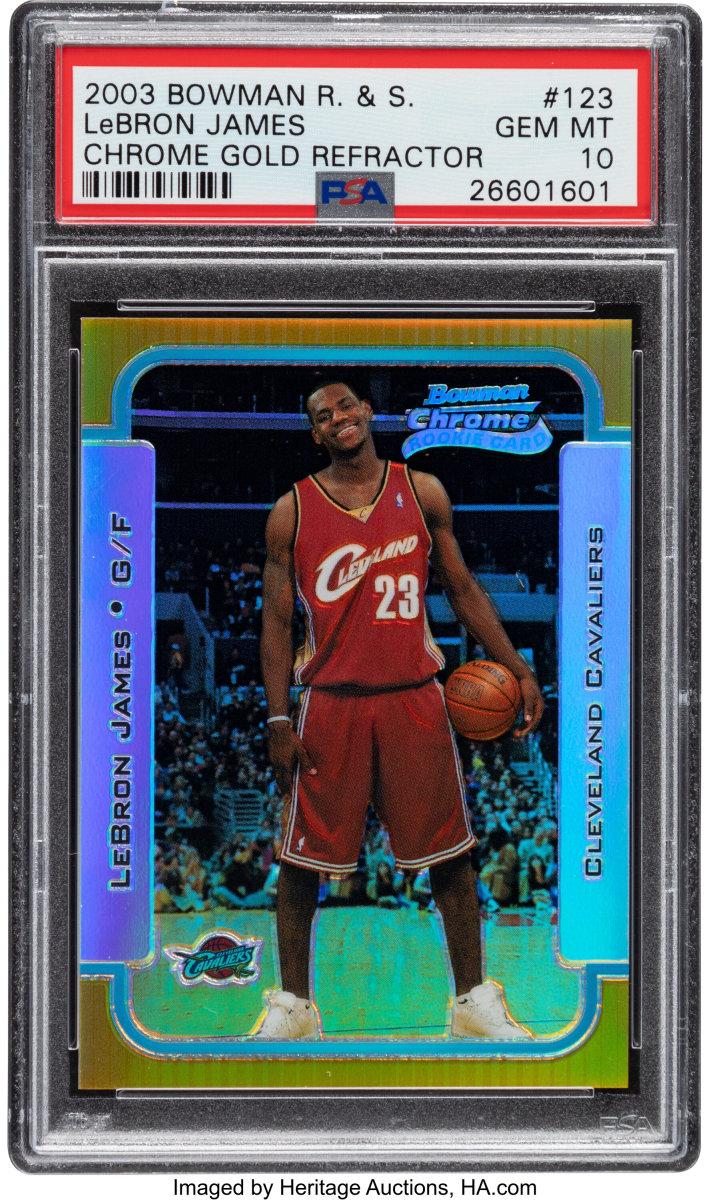 2003 Bowman_Chrome_Rookies_Stars_LeBron_James_Chrome_Gold_Refractor_123_PSA_Gem_Mint_10_Heritage_Auctions