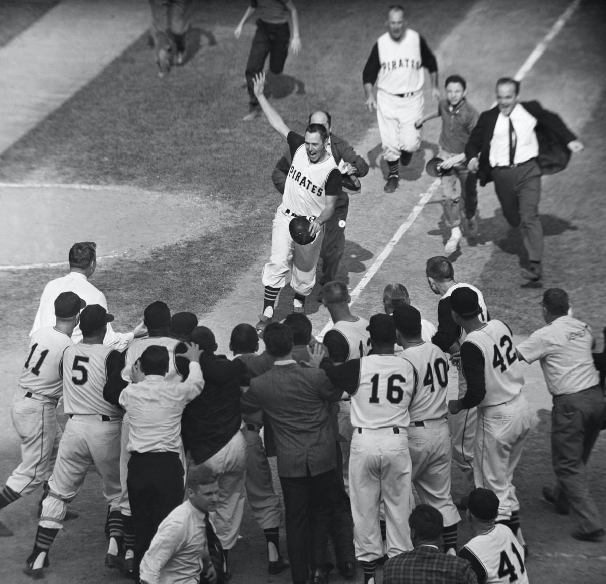 Bill Mazeroski nearing home plate after Series-winning home run. Photo: Bettmann/Getty Images