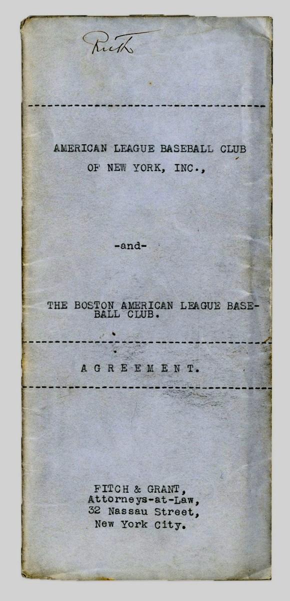 Babe Ruth sale agreement. Photo: Lelands