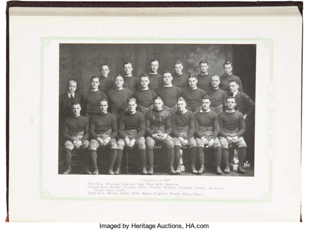 Notre Dame yearbook with George Gipp and Knute Rockne in football team photo. Photo: Heritage Auctions