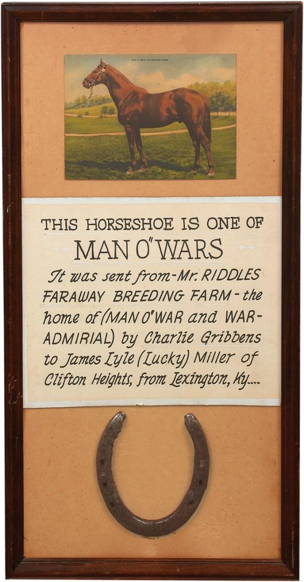 Horseshoe from Man O' War. Photo: Lelands