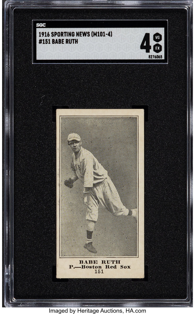 1916_M101-4_Sporting_News_Babe_Ruth_151_SGC_VG_EX_4_Heritage_Auctions