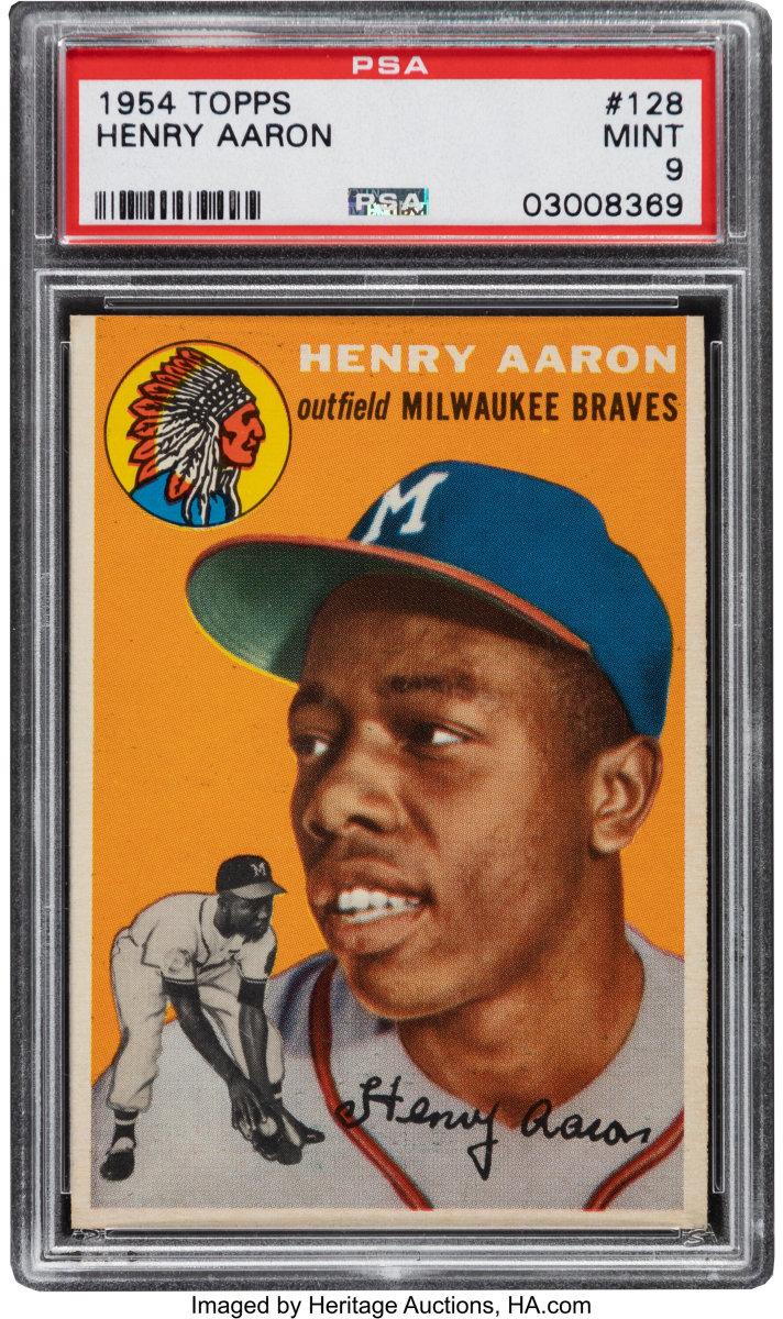 1954_Topps_Hank_Aaron_Rookie_128_PSA_Mint_9_Heritage_Auctions
