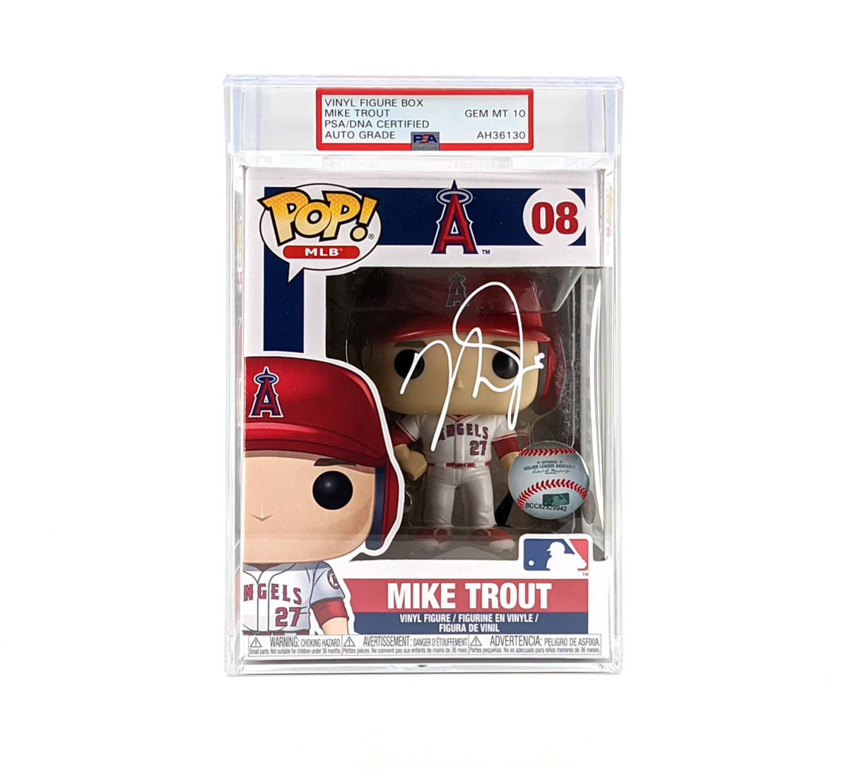 PSA-certified and encapsulated Mike Trout autographed Funko POP! vinyl figure box.