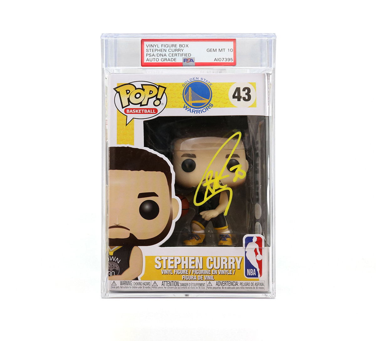 PSA-certified and encapsulated Steph Curry autographed Funko POP! vinyl figure box.