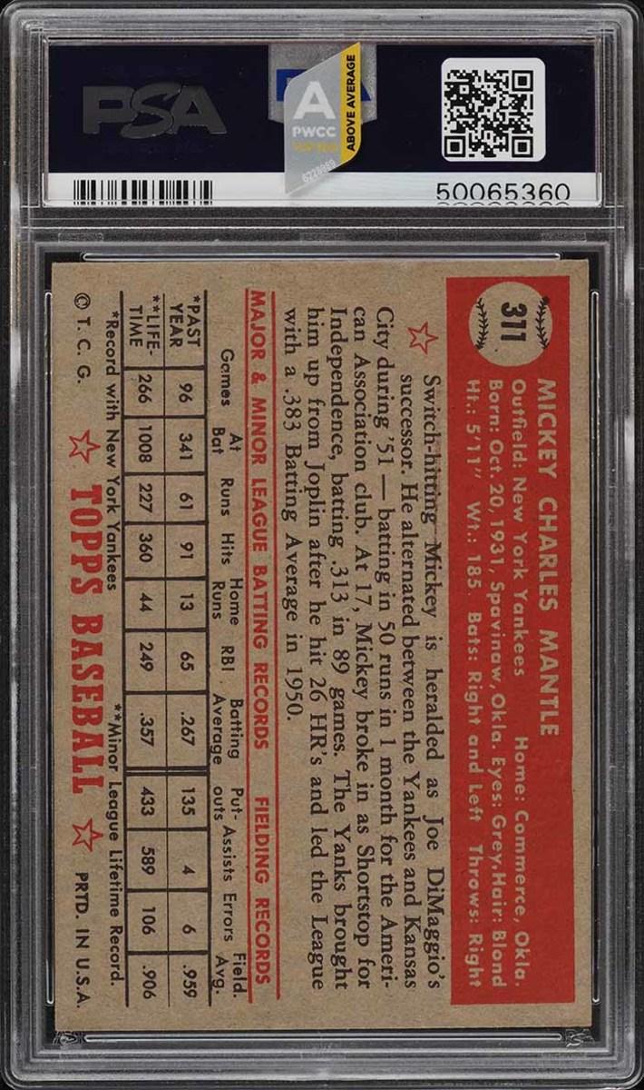 3 1952 Topps Mantle PSA 9 Back