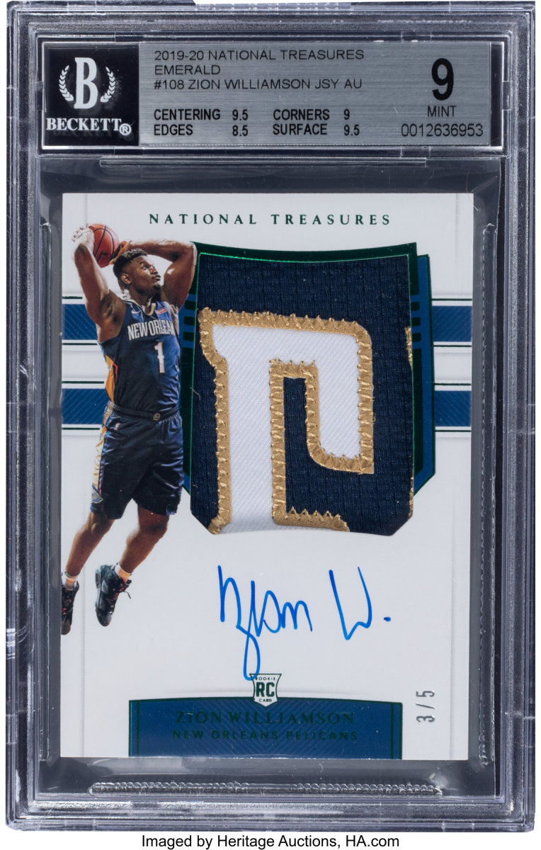 2019_National_Treasures_Zion_Williamson_108_BGS_Mint_9_Heritage_Auctions