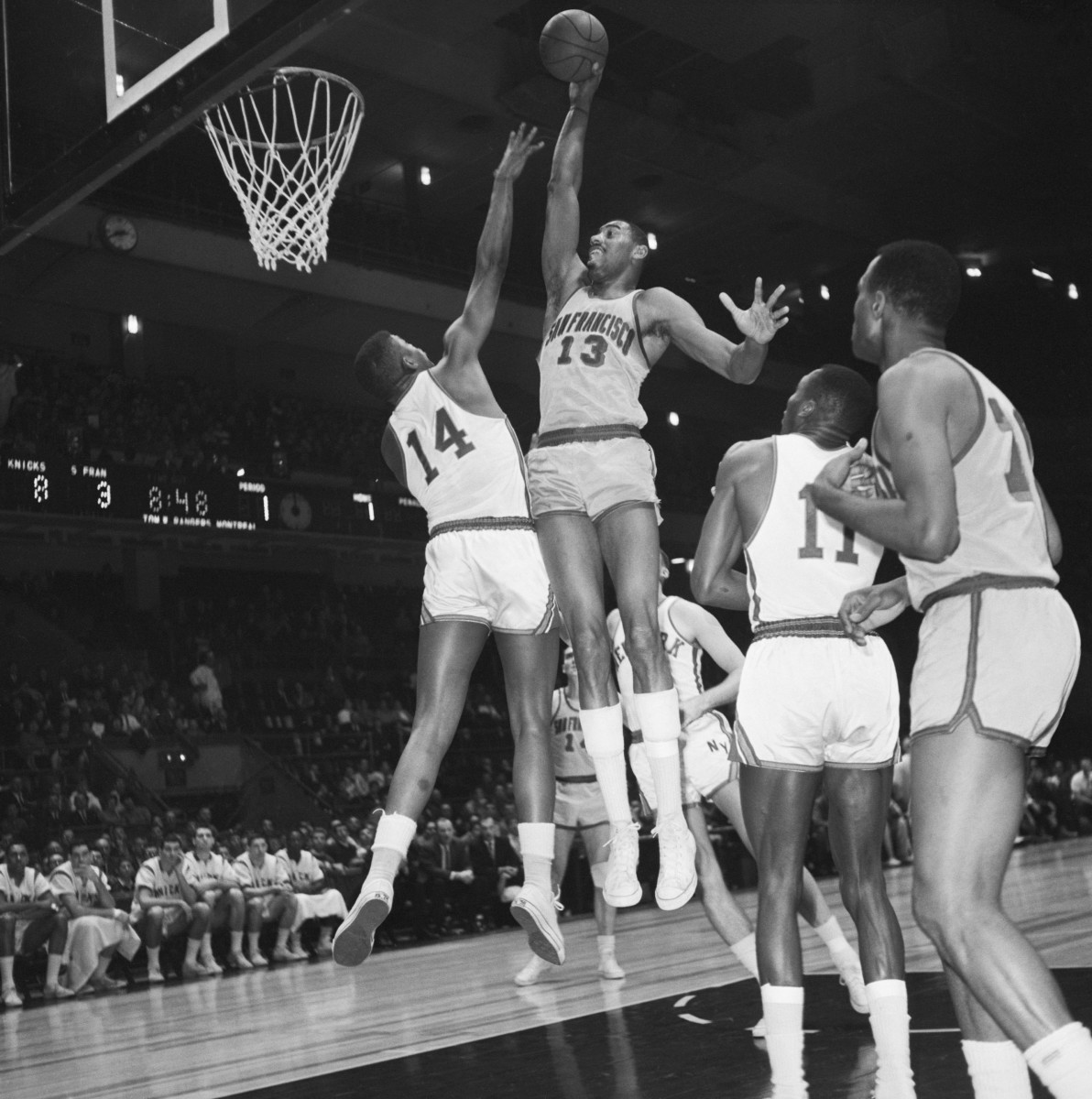 """In the season after the 100-point game, on Dec. 29, 1962, the Knicks held Chamberlain to """"only"""" 33 points but lost, 114-109. Photo: Bettmann/Getty Images"""