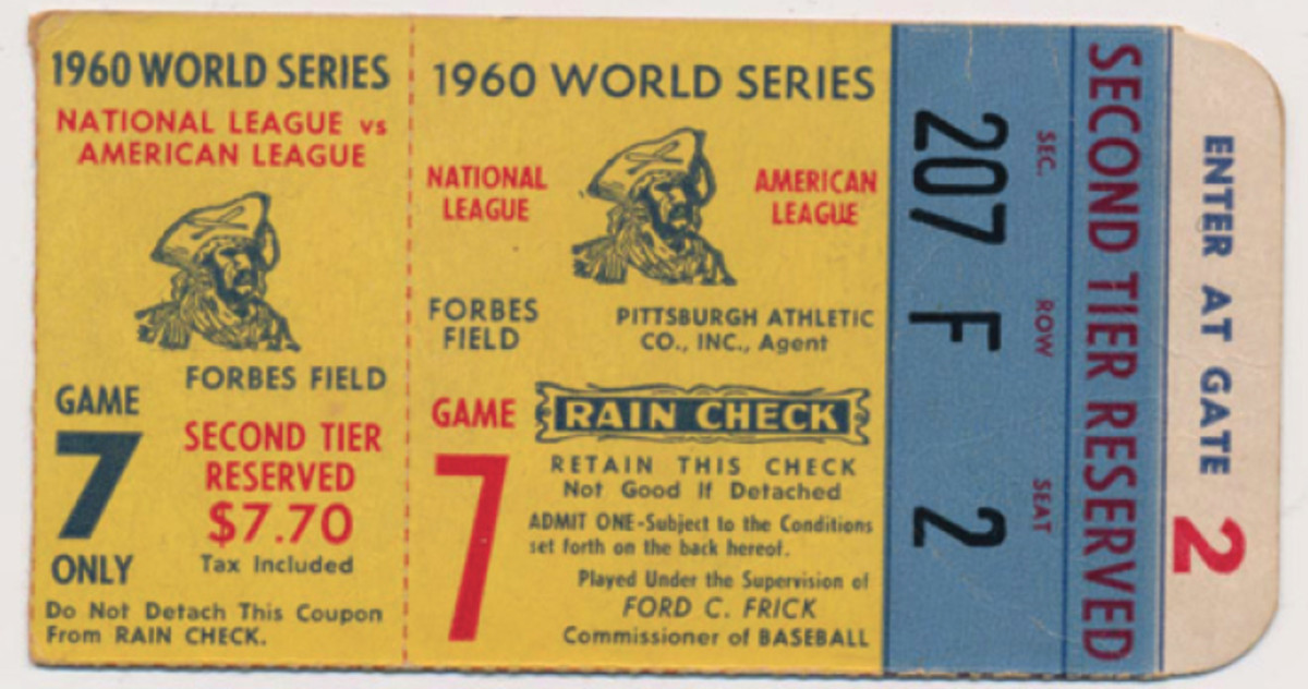 Ticket from the 1960 World Series between the Pittsburgh Pirates and New York Yankees.