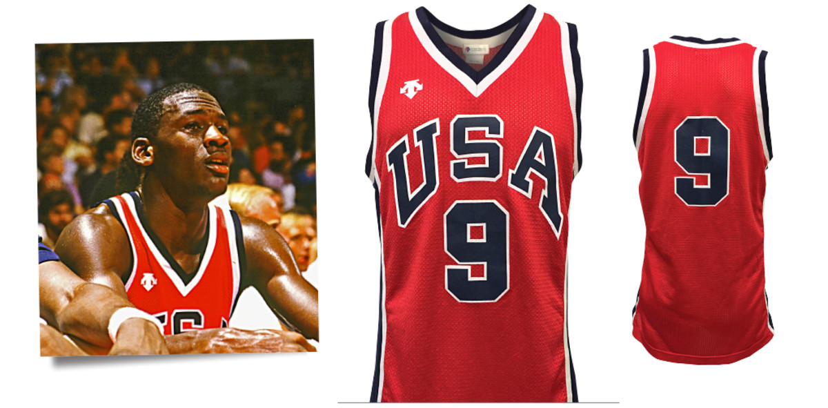 Michael Jordan's jersey from the 1984 Olympics and photos used to help authenticate it. Photo: Photo-Match.com