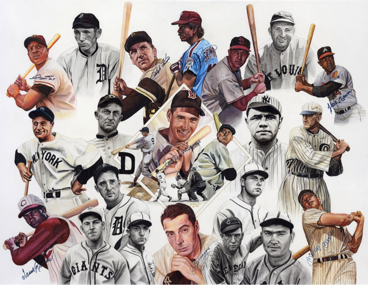 If you look closely at Fiorentino's watercolor painting of the 20 Greatest Hitters, you'll note that it is signed by a number of the athletes. Photo Credit: James Fiorentino
