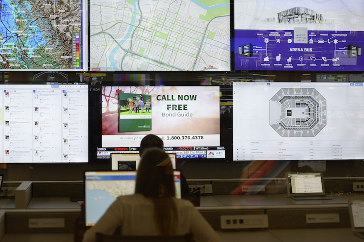 Employees monitor TV screens in mission control center of Golden 1 Center. Photos: MediaNews Group/Bay Area News via Getty Images