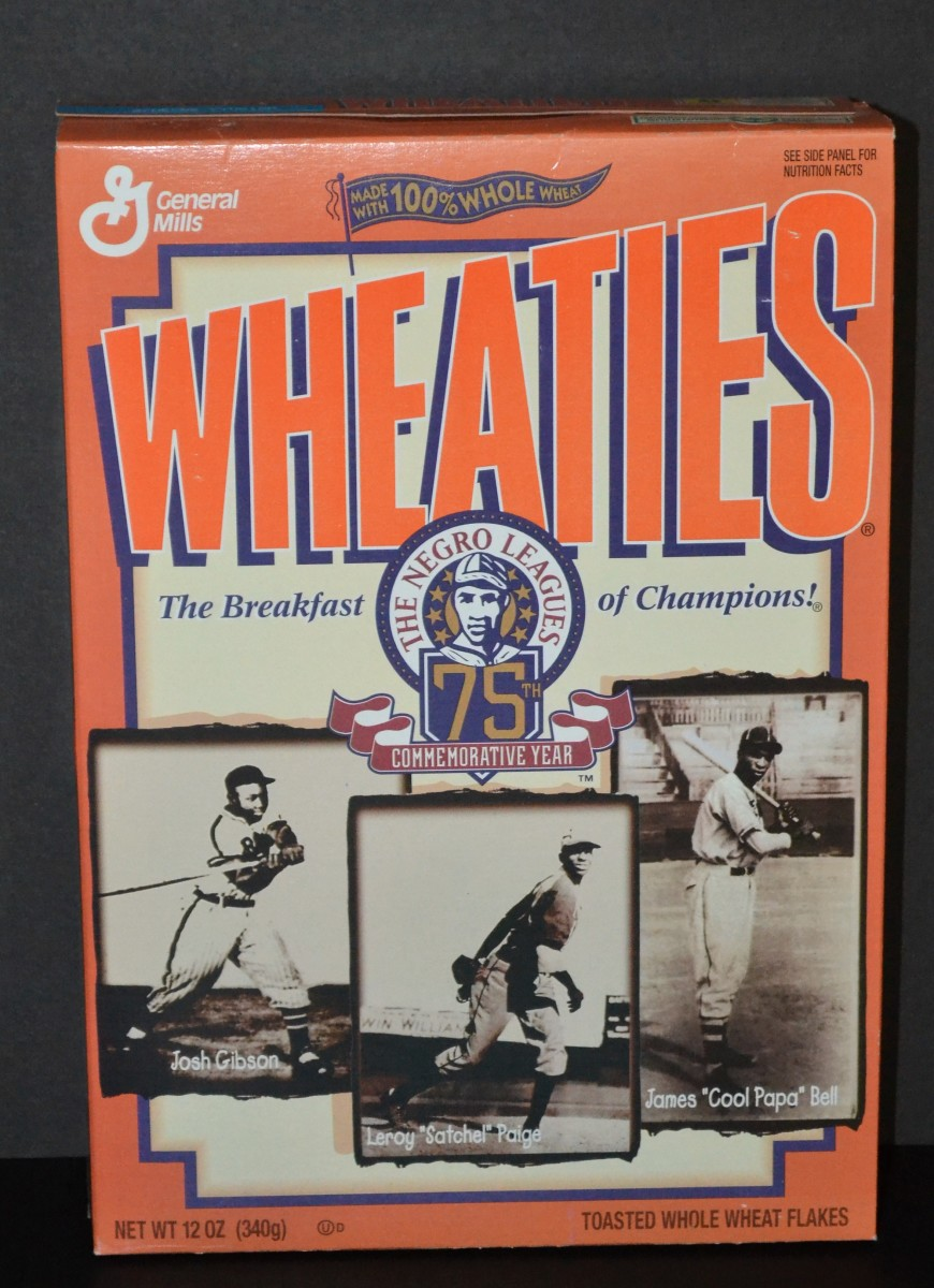Negro Leagues 75th Anniversary Wheaties box featuring James 'Cool Papa' Bell, Josh Gibson and Satchel Paige