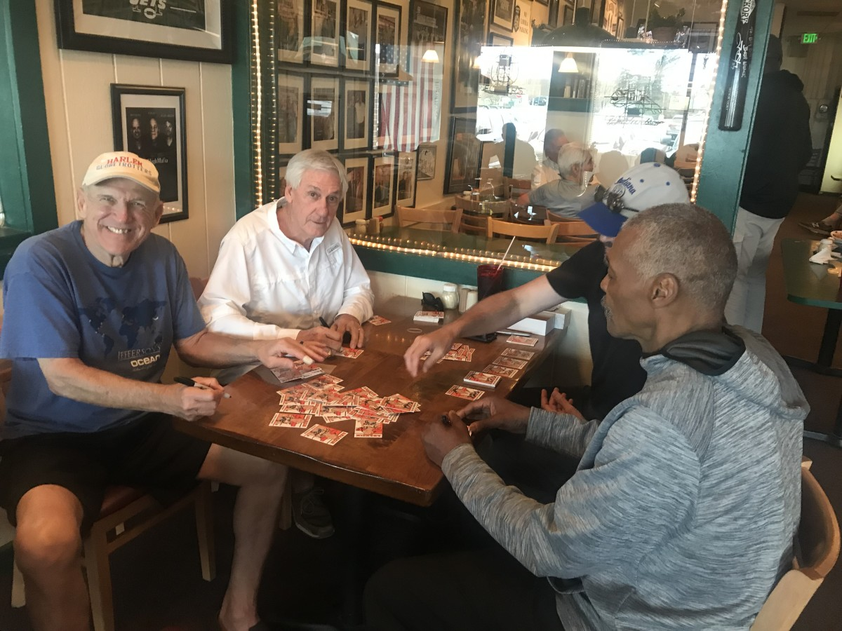 Scott Tarter lays out cards for former ABA players to sign.  Left to right: Steve Chubin (Anaheim Amigos), Grant Simmons (Denver Rockets) and Julian Hammond (Denver Rockets). Photos: Scott Tarter