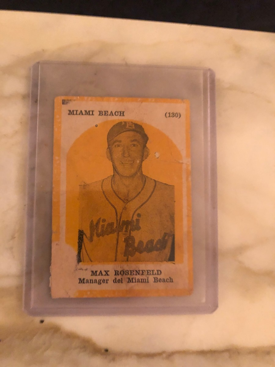 Max Rosenfeld's lone card is from the Los Reyes del Deporte series from Havana Cuba in 1946.