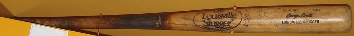 "The bat from the ""Pine Tar Game on display in the Baseball Hall of Fame. Photo: Wikipedia Commons"