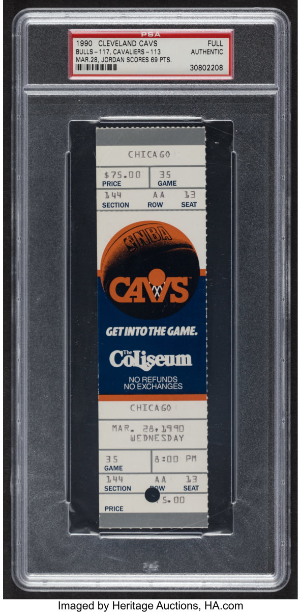 1990_Michael_Jordan_Chicago_Bulls_Cleveland_Cavaliers_Career-High_69_Points_Full_Ticket_Heritage_Auctions