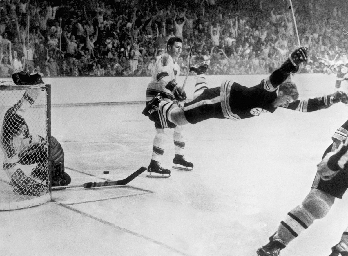 "The famous ""Flying Bobby"" photo of Bobby Orr's overtime goal that won the Stanley Cup for the Boston Bruins. Photo: Ray Lussier/MediaNews Group/Boston Record American via Getty Images"